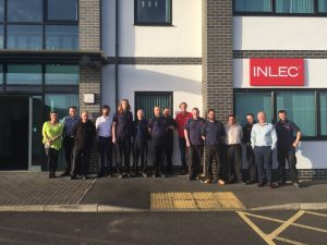 Olympic Long Jump Athlete Chris Tomlinson with Staff of Inlec UK